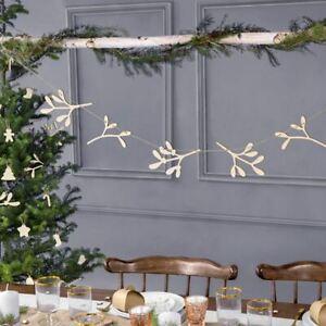 Wooden Christmas Decoration Mistletoe Garland Bunting 1.2m