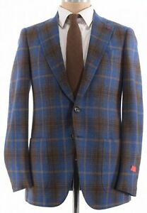 ISAIA NWT Sport Coat Sz 38 In Blue W/ Bold Brown Plaid Wool Dustin $2,995