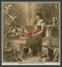 Hiddemann cenicienta cuentos de hadas paloma cocina fogón chica belleza nostalgia 1930