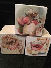 Beatrix Potter Mrs Tiggywinkle Wooden Blocks Nursery Peter Rabbit Gift