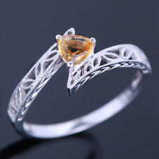 Solid 18K White Gold Exquiste Ring Prong Setting Citrine Trillion 4.5mm Hot Sale