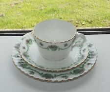 Antique Hughes & Co Fenton 1 x Trio Cup Saucer  Plate  c1910 Green Rose Baskets
