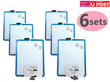 6x Blue Frame Magnetic Whiteboard Marker Magnets Mount Tapes 28x35.5cm ST8908