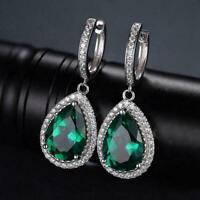 2Ct Pear Cut Green Emerald & Diamond Drop Dangle Earrings 14k White Gold Over