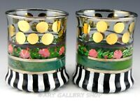Mackenzie Childs CIRCUS HAIRLOOM ROSE OLD FASHIONED TUMBLERS 2 GLASSES Unused