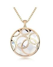 White/Clear Crystal Necklace with Pendant - Swarovski Elements / New