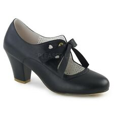 Pin Up Couture WIGGLE-32 Women's Black Faux Leather Meduim Heels Mary Jane Pumps