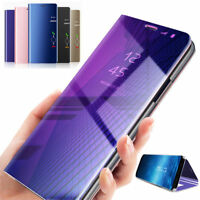 Flip Smart Case For Huawei Y9 Y6 Y5 Y7 Prime 2018 Clear View Mirror Stand Cover