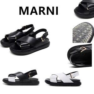 2021 Marni fusbett sandals, women's Cross raised flat bottom, casual sandals!AU