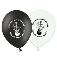 "Rock an Roll - 12"" Printed Black & White Assorted Latex Balloons pack of 15"