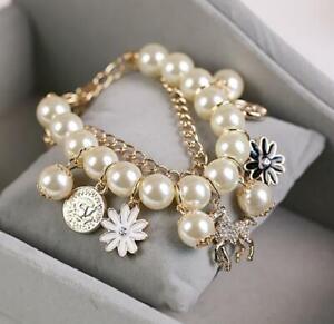 Enamel Jewelry Betsey Johnson wooden horse Avatar pearl Multi-layer bracelet hot