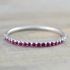Simple 925 Sliver Blue Sapphire Ruby Proposal Ring Anniversary Gift Size 5-10