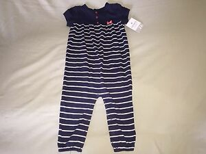 NWT CARTER'S SZ 24 MONTHS INFANT SHORT SLEEVE ONE PIECE OUTFIT NAVY BLUE STRIPES