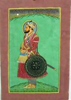 Mughal Maharajah Hand Painted Portrait  Paper Home Decorative Indian Art Prince