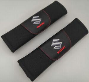 2Pcs Black Color Car Seat Belt Shoulder Cushion Cover Pad Fit For Suzuki Auto