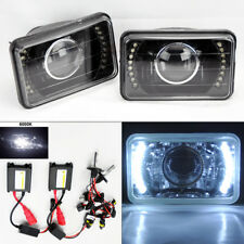 """4X6"""" 6K HID Xenon H4 Projector Black LED DRL Glass Headlight Conversion Chevy"""