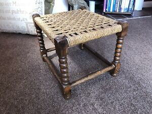SEAGRASS Footstool Barleytwist Legs Traditional Vintage Wood Ropework Woven