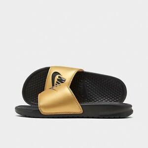 Nike Women's Benassi Slide Sandal Metallic Gold UK Size 5.5 Genuine Boxed Xmas