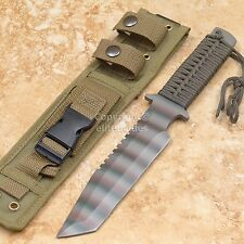 "12"" Military Camo Tactical Survival Fighting Tanto Knife w/ Army Olive Holster"