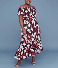 LANE BRYANT BLACK RED PRINTED OFF THE SHOULDER RUFFLE MAXI DRESS PLUS Sz 22/24