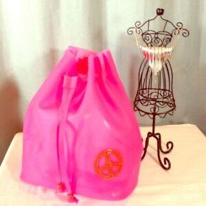Women Backpack Orange Peace Jelly Tote Girls School Satchel Drawstring Bag Pink