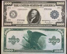 Reproduction Copy 1918 $1,000 Federal Reserve Note Currency USA See Description