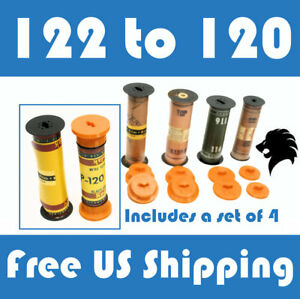 122 to 120 Film Spool Adapter Set/Kit (4pcs) For Antique Vintage Cameras Folding