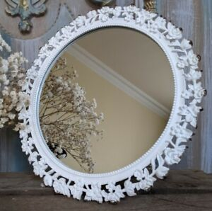 New WHITE Vintage RETRO Round Shabby Chic French Metal Dressing Table MIRROR