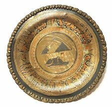 Egyptian Engraved Mixed Metals Decorative Plate Sphinx Pyramid Brass Copper Old