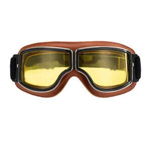 1x Motorcycle Goggles Anti-Wind UV PU Leather ATV Motocross Racing Sport Eyewear