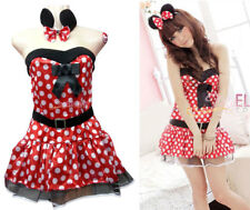 Adult Women Minnie Mouse Costume Halloween Fashion Outfit Polka Dress Cosplay