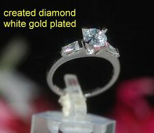1ct 6mm round DIAM0ND 3 stones ring size O 7.5