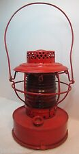 Old Handlan Oil Lantern Red Bevel Glass Globe St Louis USA Consolidated Edison
