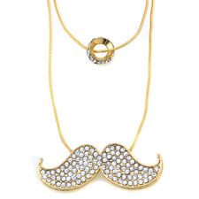 Clearance Women Girl's Rhinestone Mustache Luxury Charm and Ring Necklace