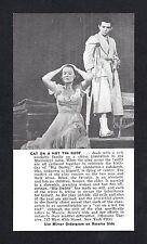 "Tennessee Williams ""CAT ON A HOT TIN ROOF"" Ben Gazzara 1955 Ticket Ordergram"