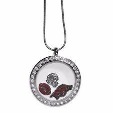 "Arkansas Razorbacks Locket Necklace Floating Charms Silver Tone 18"" Snake Chain"