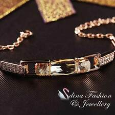18K Rose Gold Filled Made With Swarovski Crystal Champagne Rectangle Bracelet