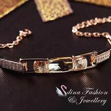 18K Rose Gold Filled Made With Swarovski Crystal Champagne Rectangle Bracelet
