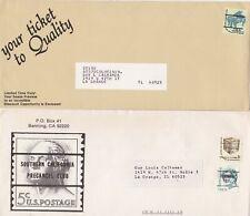 USA 4 Covers with Pre Cancel Stamps Incl El Segundo CA & Washington Grove MD