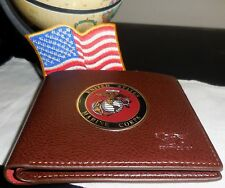 US Marine Corps Emblem,  (W)  Lite Brown Wallet, USA Seller