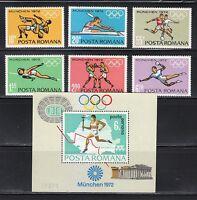 Romania 1972 MNH Mi 3012-3017+Block 93 Sc 2321-2326,C186 Olympic Games,Munich **