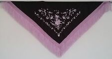 New Spanish Flamenco Shawl - Black with Lilac Pattern with Lilac Fringe