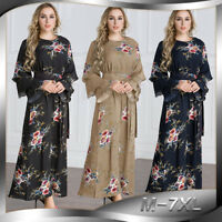 Plus Size Abaya Women Flower Print Kaftan Muslim Islamic Jilbab Long Maxi Dress