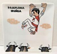 Vintage Pamplona Irunea Spain Collectible Plate - Cartoon Running of the Bulls