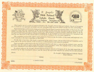 St Josephs Polish National Catholic Church > Irvington New Jersey bond