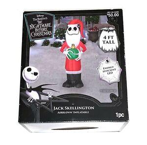 "Disney LED Jack Skellington in Santa Suit 48"" (4ft) Christmas Inflatable NEW"