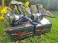 2 X NGT ANGLING PURSUITS MAX 40 2 BB CARP FISHING REELS LOADED 8LB LINE TACKLE