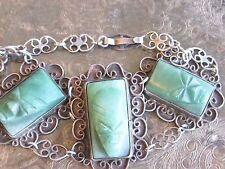 VINTAGE FACE MASK CARVED GREEN SOAP STONE / SERPENTINE STERLING SILVER BRACELET