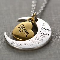 I Love You To The Moon And Back Gold & Silver Family Necklace Pendant Heart *Mum