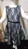 New Girls Kids Floral Lace Black Grey Skater Party Dress Age 5 6 7 8 9 10 11 12